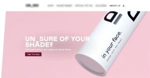"""""""A landing page of a beauty business with a CTA for taking the quiz"""